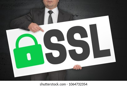 SSL poster is held by businessman.