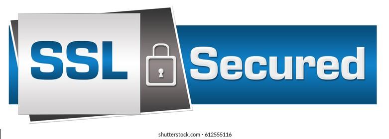 SSL Secured Blue Grey Lock Horizontal