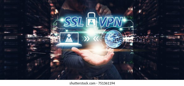 SSL VPN for network security computer : Network administrator access the ssl VPN gate way in data center : Elements of this image furnished by NASA