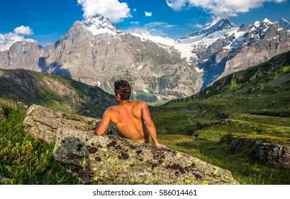 SSwiss beauty, Grindelwald, muscularly nude man silhouette,,Bernese Oberland,Switzerland,Europe