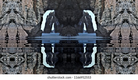 ssymmetrical photography with reflection in the water of the famous stone arches of the beach of the cathedrals, galicia, spain,peace, harmony,symmetry, serenity, meditation, relaxation, balance