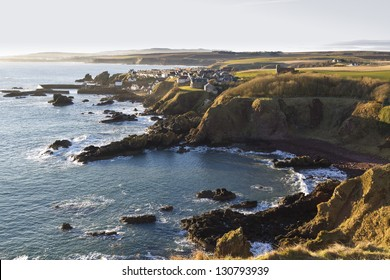 St Abbs village and harbour viewed from St Abbs Head. Scottish Borders.
