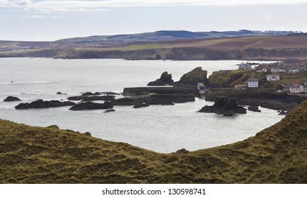 St Abbs Village and Harbours seen from St Abbs Head. Scottish Borders.
