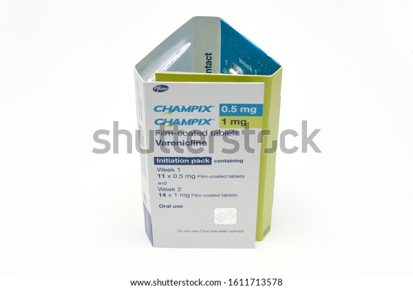 St Albans, England - 10 January 2020 - Smoking cessation aid - Champix tablets can be prescribed by doctors to help give up smoking, the box is isolated on a white background