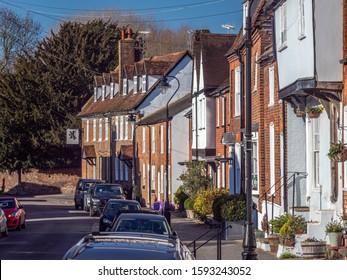 St Albans, Hertfordshire, England - January 28, 2019: Houses in Fishpool Street, St Albans, Hertfordshire