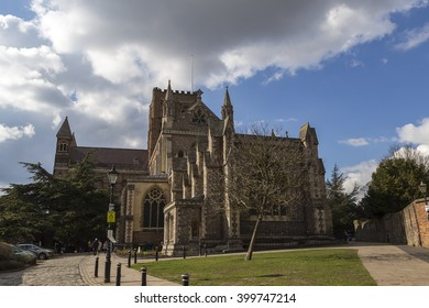 St Albans, London, UK, March 31st 2016 - Showing the St Albans Cathedral catholic church building on a sunny day in March