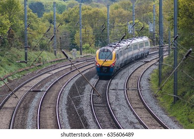 ST ALBANS, UK - MAY 2, 2017: British East Midlands train in motion on the railway
