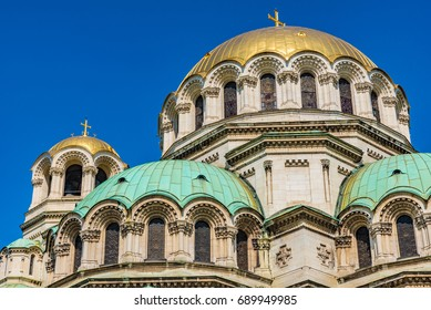 St. Alexander Nevsky Cathedral in the center of Sofia, capital of Bulgaria against  blue sky