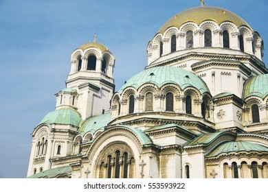St. Alexander Nevsky Cathedral up close in Sofia, Bulgaria