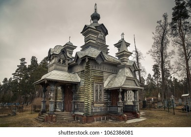 St. Alexander Nevsky Orthodox Church in Daugavpils. The church is a one-story wooden log building that is not covered with boards.