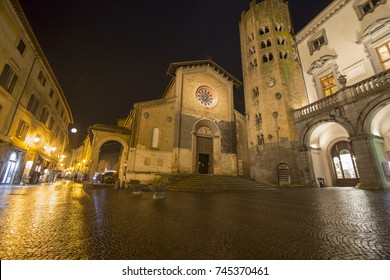 St Andrea church at Piazza della Repubblica at dusk, on February  6, 2017 in Orvieto, Umbria Italy