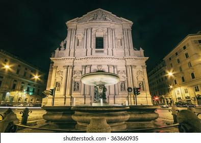 St. Andrea della Valle, Catholic church in Rome, night