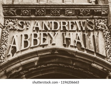 St Andrews Abbey Hall Carved in the Stone, Sepia Tone shallow depth of field horizontal photography