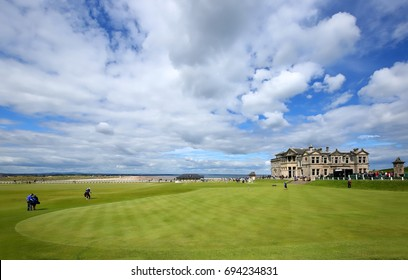 "ST. ANDREWS, FIFE, SCOTLAND - JULY 3, 2017:  St. Andrews Clubhouse and Golf Course of the Royal & Ancient where golf was founded in 1754, considered by many to be the ""home of golf""."