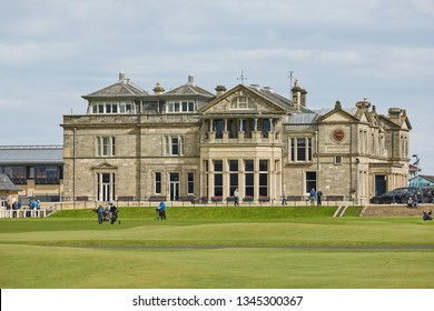 "ST. ANDREWS, FIFE, SCOTLAND - SEPTEMBER 5, 2017: St. Andrews Clubhouse and Golf Course of the Royal & Ancient where golf was founded in 1754, considered by many to be the ""home of golf""."