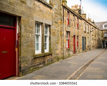 St. Andrews, Fife, Scotland, UK - May, 3, 2018: Houses in Logies Lane, an example of rental and student accommodation in the university town.