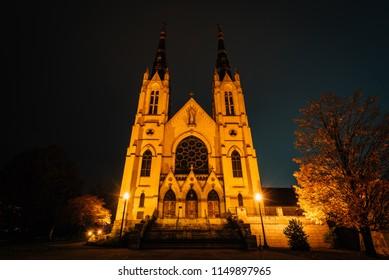 St. Andrew's Roman Catholic Church at night, in Roanoke, Virginia