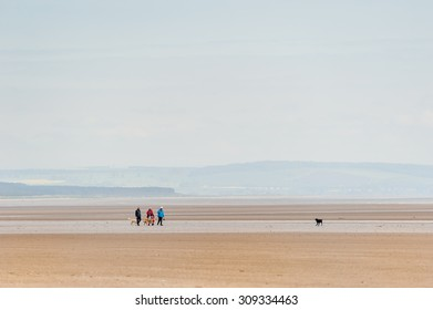 ST ANDREWS, SCOTLAND - JUNE 07, 2013: Unidentfied people walking with dogs on the West Sands beach in St Andrews, Scotland.