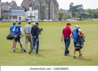 St Andrews, Scotland - May 21, 2018: People playing golf at famous golf course St Andrews in Scotland
