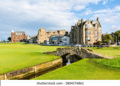 St Andrews, Scotland, United Kingdom – September 10, 2017.  View of St Andrews Links golf course in St Andrews, with the Swilcan Bridge, a famous small stone bridge spanning the Swilcan Burn