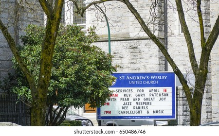 St Andrews Wesley United Church in Vancouver - VANCOUVER / CANADA - APRIL 12, 2017