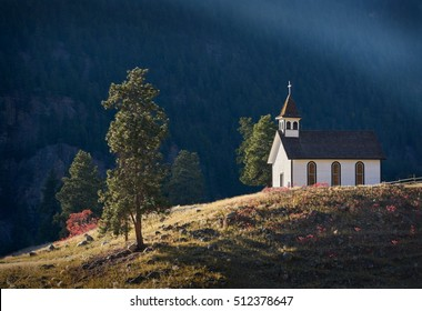 St. Ann Church, Similkameen Valley. The last rays of sunlight on the St. Anne Catholic Church at the Chuchuwayha village in the Similkameen Valley near Hedley.