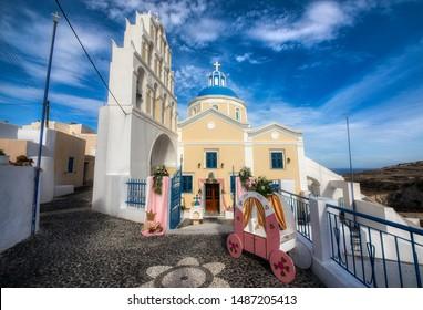 St Anna Church in the Village of Vothonas on the Beautiful Island of Santorini, Greece