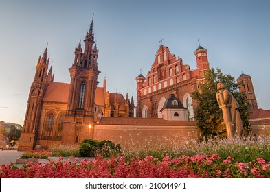 St Anne's and Bernadine's Churches in Vilnius (Lithuania). A nice sunset of summer. These spectacular churches are a very beautiful  architectural structures that accurately represents Baltic States.