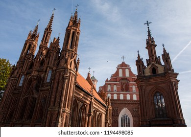 St. Anne's Church and Church of St. Francis and Bernadine ensemble in Vilnius, Lithuania.