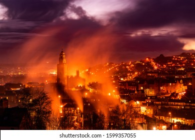 St. Anne's Church, Shandon, Cork City, Ireland During a Beautiful Sunset with Fog and Smoke all Around