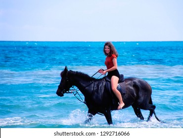 St. Ann's Bay, Jamaica, Horseback riding on the north shore, March 2, 1999