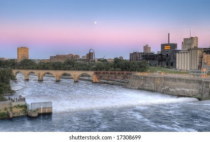 St Anthony Falls, Minneapolis, MN - dusk with rising moon - HDR (High Dynamic Range) image