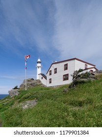 ST. ANTHONY, NEWFOUNDLAND/CANADA - JULY 30, 2018: Exterior of the historic Lobster Cove Head Lighthouse on Main Street North in Rocky Harbour