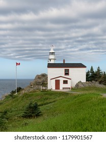 ST. ANTHONY, NEWFOUNDLAND/CANADA - JULY 31, 2018: Exterior of the historic Lobster Cove Head Lighthouse on Main Street North in Rocky Harbour
