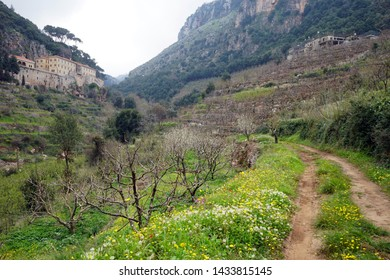 St. Antoine monastery and track in Kadisha valley