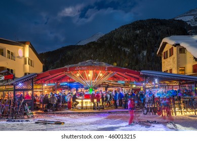 ST. ANTON, AUSTRIA ; JANUARY 17, 2016 : Open door bar for apres ski on the slope of winter resort St. Anton, Austria. St. Anton was the host of the Alpine World Ski Championships in 2001.
