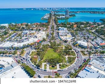 St Armands Circle Sarasota Florida Lido Key Aerial Drone Picture Blue Sunny Skies