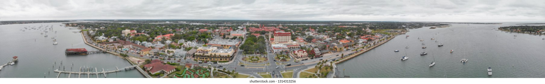St Augustine aerial panoramic view, Florida.