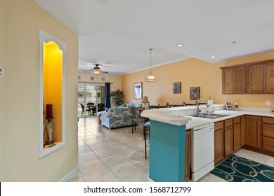 St Augustine Beach, Florida / USA - November 23 2019: Kitchen in a beach rental condo