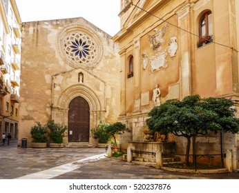 The St. Augustine Church and the Fountain of Saturn in Trapani, Sicily, Italy.