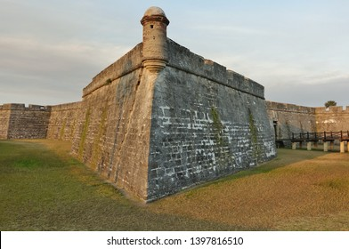 ST AUGUSTINE, FL -9 MAR 2019- View of the landmark Castillo de San Marcos, the oldest and largest masonry fort in the continental United States, in historic St Augustine, Florida.
