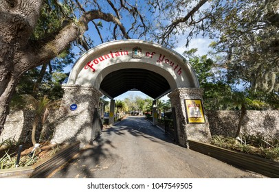 St Augustine, FL - March 07, 2018: A view of The Fountain of Youth Archaeological Park entry