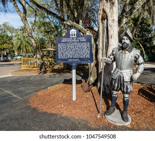 St Augustine, FL - March 07, 2018: A view of The Fountain of Youth Archaeological Park