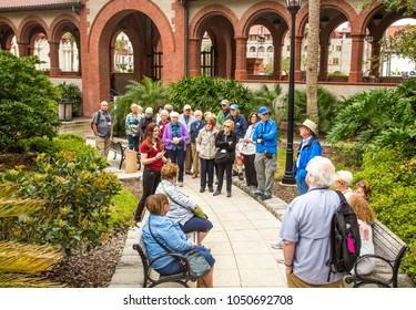 St Augustine, Florida - 2/26/2018:  A tolur group near the entrance of Flagler College.  It is a private four-year liberal arts college in St. Augustine, Florida. It was founded in 1968.