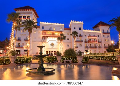 ST. AUGUSTINE, FLORIDA - DECEMBER 24, 2017 : Casa Monica Hotel illuminated at dusk in St. Augustine, Christmas time. Opened in 1888, it is one of the oldest hotels in the United States of America.