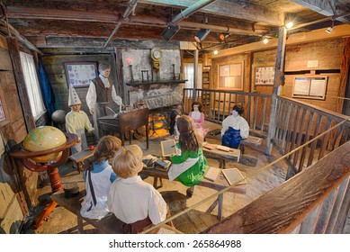 ST. AUGUSTINE, FLORIDA - JANUARY 18, 2015 : Interior of the Oldest Wooden Schoolhouse in the United States. The construction date is unknown, but it first appeared on tax records in 1716.