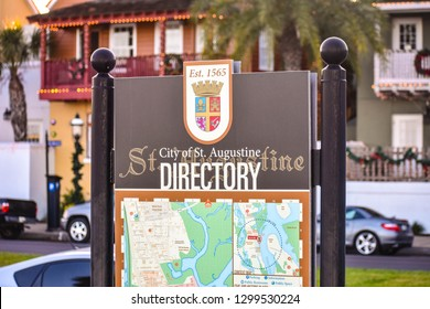 St. Augustine, Florida. January 26 , 2019 . Directory Map Sign at Old Town in Florida's Historic Coast.