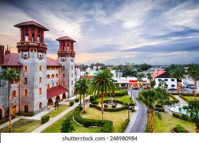St. Augustine, Florida, USA city hall and Alcazar Courtyard.