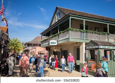 ST. AUGUSTINE, FLORIDA, USA - DECEMBER 8, 2016: Shops and inns line St. George. Once the main street, it is still considered the heart of the city. Editorial use only.