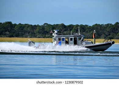 ST. AUGUSTINE, FLORIDA, USA - NOVEMBER 06, 2018: Homeland Security, Border Patrol vessel cruising on the river protecting the coastline of Florida.